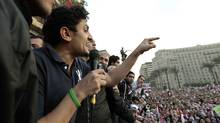 Google Inc. executive Wael Ghonim addresses a mass crowd inside Tahrir Square in Cairo February 8, 2011. Ghonim was held for almost two weeks, during which he said state security kept him blindfolded. Activists say that Ghonim was behind a Facebook group that helped to inspire the protests. (Dylan Martinez/Reuters/Dylan Martinez/Reuters)