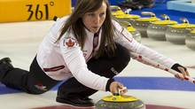 Canada's skip Rache Homan tests rocks during a practice session at the world women's curling championship in Riga, Latvia on Friday, March 22, 2013. (Andrew Vaughan/THE CANADIAN PRESS)