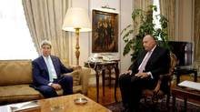 U.S. Secretary of State John Kerry meets with Egypt's Foreign Minister Sameh Shukri in Cairo, Egypt, Tuesday, July 22, 2014. (STF/AP)