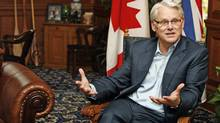 Premier Gordon Campbell answers questions in his office at the B.C. Legislature on Dec. 3, 2008, in Victoria. (Deddeda Stemler)