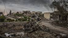 The aftermath of fierce fighting between Iraqi special forces and the Islamic State in western Mosul, Iraq, on March 23, 2017. (IVOR PRICKETT/NYT)