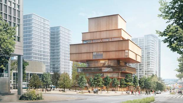 Bold design proposal for new vag features stacked wooden for Vancouver architecture firms