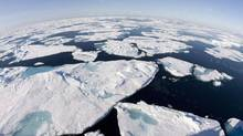 Ice floes float in Baffin Bay above the Arctic circle on July 10, 2008. The Intergovernmental Panel on Climate Change issued a synopsis of its latest report Friday, concluding that it's 'extremely likely' that human activity is the dominant cause of global warming. (JONATHAN HAYWARD/THE CANADIAN PRESS)
