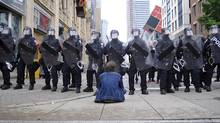 Riot police block a downtown Toronto street during G20 protests. (Roger Hallett/The Globe and Mail/Roger Hallett/The Globe and Mail)