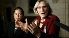 Canada's Indigenous Affairs Minister Carolyn Bennett (R) speaks during a news conference regarding a ruling by the Canadian Human Rights Tribunal with Justice Minister Jody Wilson-Raybould on Parliament Hill in Ottawa, Canada, January 26, 2016. REUTERS/Chris Wattie (CHRIS WATTIE/REUTERS)