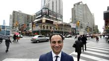 Sam Mizrahi, president of Mizrahi Developments at the corner of Toronto's Yonge St. and Bloor St. W.. His company has purchased the land where mens clothier Stollerys has been located at 1 Bloor St West for years, as well as other properties adjacent to the corner location. The plan is development condominiums and retail on lot which is prime real estate in Toronto. (Fred Lum/The Globe and Mail)