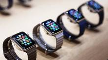 Apple Watches are displayed in San Francisco in 2015. (Robert Galbraith/Reuters)