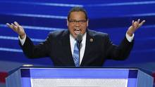 In this July 25, 2016, file photo, Rep. Keith Ellison speaks during the first day of the Democratic National Convention in Philadelphia. (J. Scott Applewhite/AP)