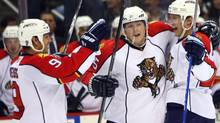 Dmitry Kulikov of the Florida Panthers celebrates after scoring a goal with Brendan Morrison and Mathieu Perreault against the Washington Capitals during an NHL hockey game on November 7, 2009 at the Verizon Center in Washington, DC. (Ned Dishman/2009 Getty Images)
