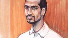 Omar Khadr appears in an Edmonton courtroom in 2013 in this artist's sketch. (Amanda McRoberts/THE CANADIAN PRESS)