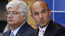Research In Motion co-CEO Jim Balsillie, right, and president and co-CEO Mike Lazaridis (MIKE CASSESE/reuters)