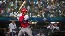 Lourdes Yunielkis Gurriel #19 of Cuba plays the WBSC Premier 12 match between Cuba and Taiwan at the Taichung Intercontinental Baseball Stadium on November 14, 2015 in Taichung, Taiwan. (Billy H.C. Kwok For The Globe and Mail)