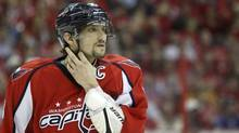 Washington Capitals left wing Alex Ovechkin pasues during a break in play against the New York Rangers during the second period in game 3 of their NHL Eastern Division playoff game in Washington May 2, 2012. (Gary Cameron/Reuters/Gary Cameron/Reuters)