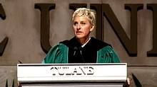 A screeengrab from a YouTube video of Ellen Degeneres's commencement speech at Tulane University in 2009. (YouTube)