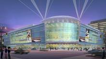 An artist's rendering shows the exterior of the proposed renovated Copps Coliseum in Hamilton, Ont.