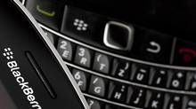 Research In Motion BlackBerry smartphone handsets are pictured in this illustration picture taken in Lavigny, Switzerland in this file photo. (VALENTIN FLAURAUD/REUTERS)