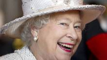 Britain's Queen Elizabeth II laughs while visiting the Pikemen and Musketeers of the Honorable Artillery Company, in London, Wednesday May 12, 2010. The Regiment, the oldest in the British Army, furnishes Guards of Honour for members of the Royal Family and for visiting Heads of State. Membership of the Pikemen and Musketeers - who wear uniforms of the period of King Charles I - is voluntary and unpaid.(AP Photo/Geoff Pugh, pool) (Geoff Pugh)