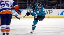 San Jose Shark Joe Thornton, in the midst of one one of his hottest streaks in years, unleashes his ferocious shot against the New York Islanders at SAP Center on Nov. 10, 2015 in San Jose, California. (Ezra Shaw/Getty Images)