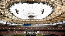 The newly installed roof at B.C. Place in Vancouver September 7, 2011. The $500 million project is to be completed by September 30, 2011 for the B.C. Lions first game since the project started last year. (JOHN LEHMANN/JOHN LEHMANN/THE GLOBE AND MAIL)