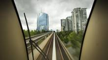 The view from the Skytrain as the train makes its way into Surrey June 14, 2012. (John Lehmann/The Globe and Mail)