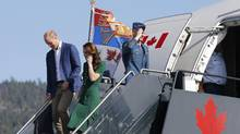 Britain's Prince William and Catherine, Duchess of Cambridge, arrive at the airport in Kelowna, British Columbia, Canada, September 27, 2016. (CHRIS WATTIE/REUTERS)