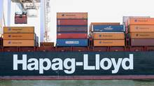 Shipping company Hapag-Lloyd is based in Hamburg, Germany. Container shipping groups have been struggling through the worst slump on record, caused by a weak global economy, oversupply of vessels and low freight rates. (Mary Altaffer/AP)