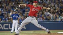 Los Angeles Angels pitcher Tyler Skaggs works against the Toronto Blue Jays during third inning American League action in Toronto on Saturday, May 10, 2014. (Chris Young/THE CANADIAN PRESS)