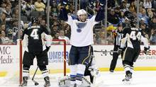 St. Louis Blues centre David Backes (42) celebrates his game winning goal against the Pittsburgh Penguins during the third period at the CONSOL Energy Center. The St. Louis Blues won 1-0. (Charles LeClaire/USA Today Sports)