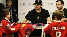 Hundreds lined up to see Washintong Capital's Alex Ovechkin at the Bay in Vancouver, BC, December 17, 2009.