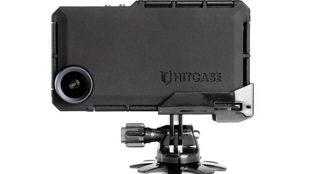 The Hitcase Pro comes with a detachable GoPro-compatible Tripod mount and helmet mount that attaches to the case with a sliding rail system. (Hitcase)