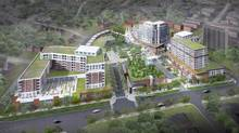 Aerial rendering of the proposal to redevelop the site of the Humbertown mall. from the original al January 2012 submission, September 2012 and the December 2012 final (pictured here) from fcr . (Administrator)