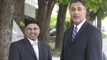 Bob Virk (L) and Dave Basi (R) walk out of Vancouver's BC Supreme court May 17. 2010 during a lunch break. (John Lehmann/ The Globe and Mail/John Lehmann/ The Globe and Mail)