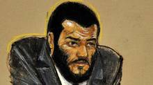 A courtroom sketch of Omar Khadr, who is in the sentencing phase of his military trial at Guantanamo Bay, Cuba. (Janet Hamlin/Pool/The Associated Press/Janet Hamlin/Pool/The Associated Press)