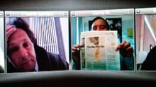 Big Boys Gone Bananas! screens at the Vancouver Latin American Film Festival until Sept. 6. Big Boys Gone Bananas -- Publicist David Magdael shows the front page of the LA Business Journal at a team video conference