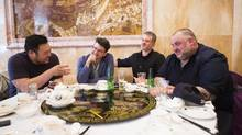 (L to R) David Chang, owner of the Momofuku restaurants; Peter Meehan, food writer and editor at Lucky Peach magazine; Fred Morin, co-owner of Joe Beef; and David McMillan, co-owner of Joe Beef have dim sum in Toronto on May 12, 2014. (Michelle Siu for The Globe and Mail)