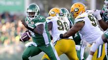Saskatchewan Roughriders quarterback Darian Durant runs the ball during CFL action against the Edmonton Eskimos on Sept. 18, 2016. (Mark Taylor/The Canadian Press)