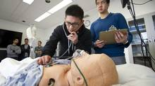 Third year medical students take part in a simulated situation. (Kevin Van Paassen/The Globe and Mail)