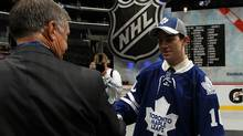 Bradley Ross shakes hands after being drafted in the second round by the Toronto Maple Leafs during day two of the 2010 NHL Entry Draft at Staples Center on June 26, 2010 in Los Angeles, California. (Photo by Bruce Bennett/Getty Images) (Bruce Bennett/2010 Getty Images)