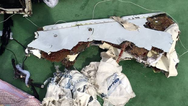 A picture uploaded on the official Facebook page of the Egyptian military spokesperson on May 21, 2016 and taken from an undisclosed location reportedly shows some debris that the search teams found in the sea after the EgyptAir Airbus A320 crashed in the Mediterranean. The Egyptian military spokesman released pictures on his Facebook page of some of the wreckage it recovered so far, including a safety vest and what appeared to be the shredded remains of a seat