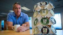 Darren Footz is spending $10-million to develop a compostable and biodegradable cup called the G-Kups. (DARRYL DYCK/THE GLOBE AND MAIL)