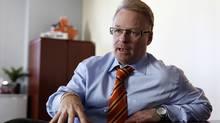 Keith Pelley, President of Rogers Media Inc. speaks during an interview in Toronto, Ontario, Canada a Rogers Headquarters. (Deborah Baic)