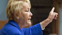 Quebec Opposition Leader Pauline Marois takes the government to task over language rights in National Assembly on Oct. 18, 2010. (Jacques Boissinot/THE CANADIAN PRESS)
