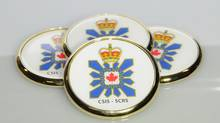 A coaster set is the newest addition to the memorabilia sold in a secret shop on the lower level of CSIS headquarters in Ottawa. (THE CANADIAN PRESS)