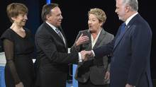 Quebec's party leaders greet each other at the election debate in Montreal on March 20, 2014. (PAUL CHIASSON/THE CANADIAN PRESS)