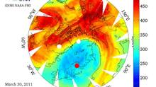 An image of total ozone column profile around the North Pole on March 30, 2011, developed by Finnish Meteorological Institute using satellite and ground based data. (Handout/Reuters)