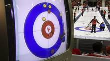 A television shows an overhead view of the house at the Canadian Olympic Curling trials in Regina, Tuesday December 4, 2001. (ADRIAN WYLD/CP)