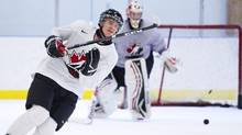Canada forward Jonathan Huberdeau skates for the first time during practice in preparation for the upcoming IIHF World Junior Championships in Banff, Alta., on Friday, Dec. 16, 2011. Huberdeau has been sidelined with a foot injury. (Nathan Denette/THE CANADIAN PRESS)