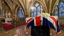 The coffin of former British prime minister Margaret Thatcher rests in the Crypt Chapel of St. Mary Undercroft, at the Palace of Westminster in London. (POOL/REUTERS)