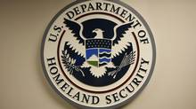 The U.S. Department of Homeland Security emblem is pictured at the National Cybersecurity & Communications Integration Center in Arlington, Virginia. (HYUNGWON KANG/REUTERS)