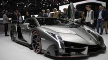 The new Lamborghini Veneno is seen during the first media day of the 83rd Geneva International Motor Show, Switzerland, Tuesday, March 5, 2013. (Laurent Cipriani/AP)